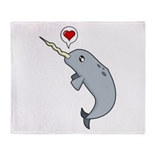 Narwhal Love Throw Blanket