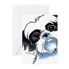 B/W Shih Tzu Art Greeting Cards (Pk of 10)