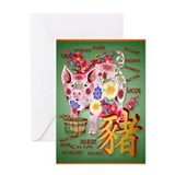 Year Of The Pig In Flowers Greeting Card