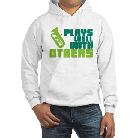 Tuba Plays Well Hooded Sweatshirt