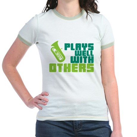Tuba Plays Well Jr. Ringer T-Shirt