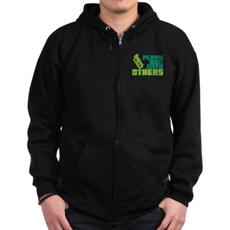 Tuba Plays Well Zip Hoodie (dark)