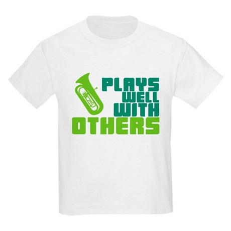 Tuba Plays Well Kids Light T-Shirt