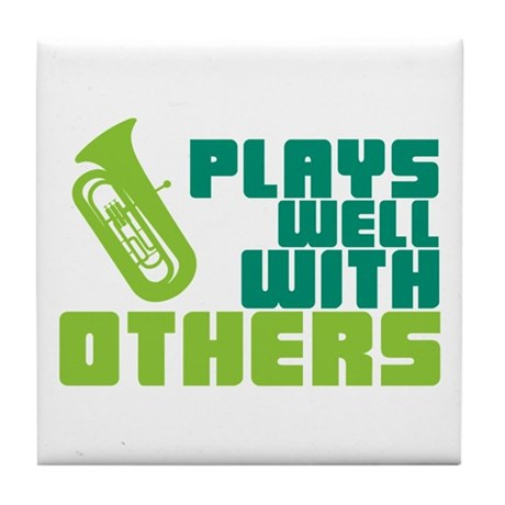 Tuba Plays Well Tile Coaster