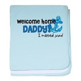 Welcome Home Daddy *navy* baby blanket