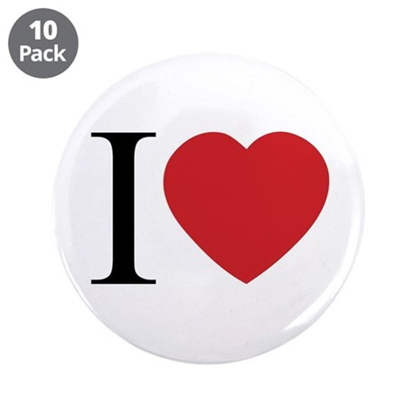 I LOVE (Heart) 3.5 Inch Buttons ~ Pack of 10