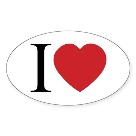 I LOVE (Heart) Oval Sticker