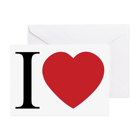I LOVE (Heart) Greeting Cards ~ Package of 20