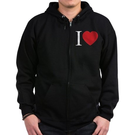 I LOVE (Heart) Men's Dark Zip Hoodie