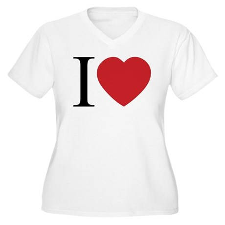 I LOVE (Heart) Women's Plus Size V-Neck T-Shirt