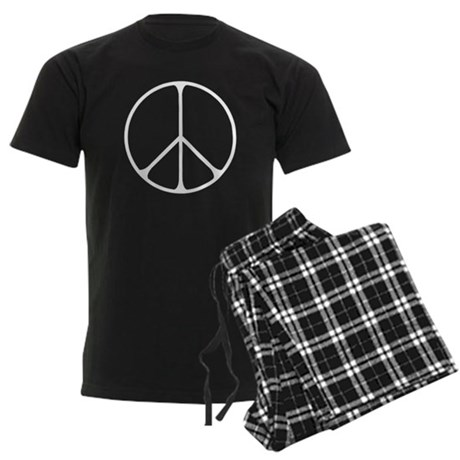 Elegant Peace Sign Men's Dark Pajamas