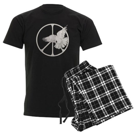 Peace Sign Dove Men's Dark Pajamas
