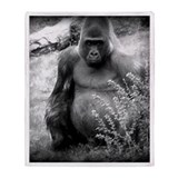 Vintage Black and White Gorilla Throw Blanket