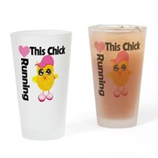 This Chick Loves Running Drinking Glass