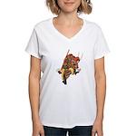 Japanese Samurai Warrior Women's V-Neck T-Shirt