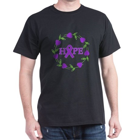 Pancreatic Cancer Hope Hearts Dark T-Shirt