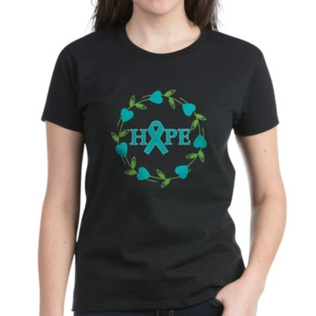 Ovarian Cancer Hope Hearts Women's Dark T-Shirt