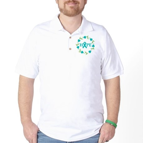 Ovarian Cancer Hope Hearts Golf Shirt