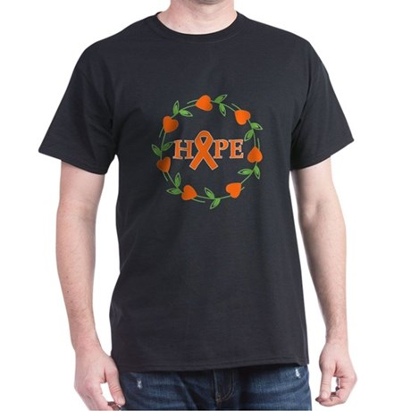 Kidney Cancer Hope Hearts Dark T-Shirt