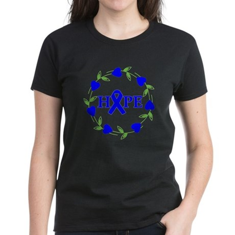 Colon Cancer Hope Hearts Women's Dark T-Shirt