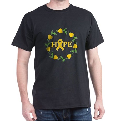 Childhood Cancer Hope Hearts Dark T-Shirt