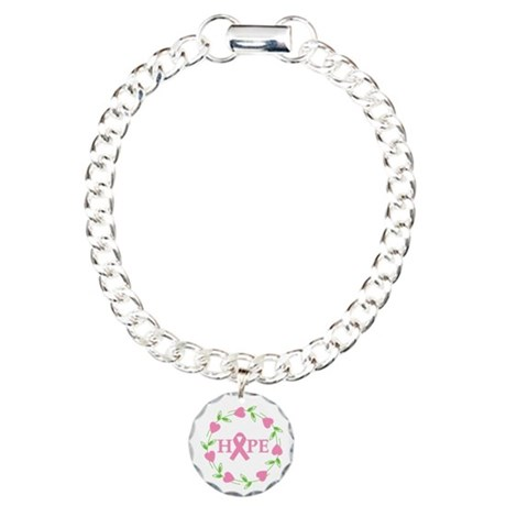 Breast Cancer Hope Hearts Charm Bracelet, One Char