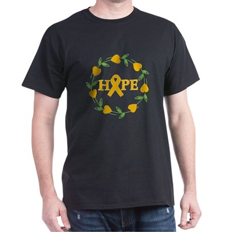 Appendix Cancer Hope Hearts Dark T-Shirt