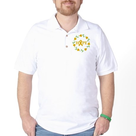 Appendix Cancer Hope Hearts Golf Shirt