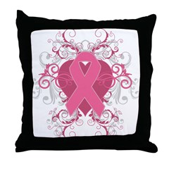 Breast Cancer Embellishment Throw Pillow