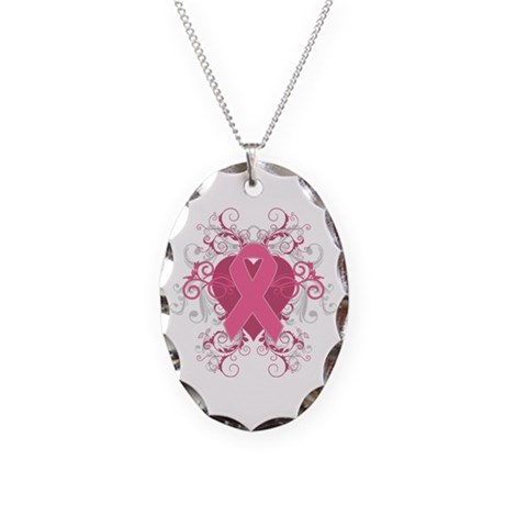 Breast Cancer Embellishment Necklace Oval Charm