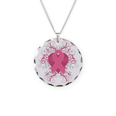 Breast Cancer Embellishment Necklace Circle Charm