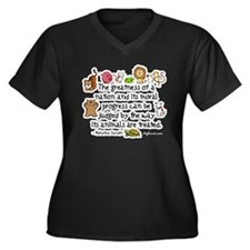 Cute Treat Women's Plus Size V-Neck Dark T-Shirt