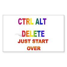 CTRL ALT DELETE JUST START OV Sticker (Rectangular