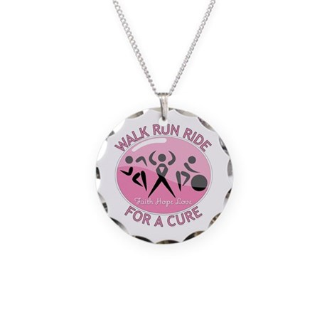 Breast Cancer Walk Run Ride Necklace Circle Charm