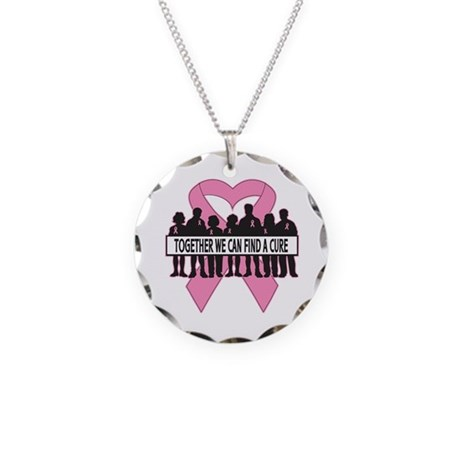 Breast Cancer Group Support Necklace Circle Charm