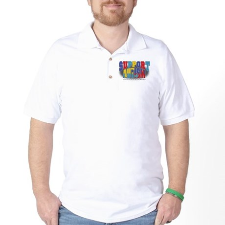 Support Autism Grunge Golf Shirt