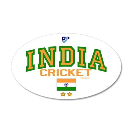 IN India Indian Cricket 38.5 x 24.5 Oval Wall Peel