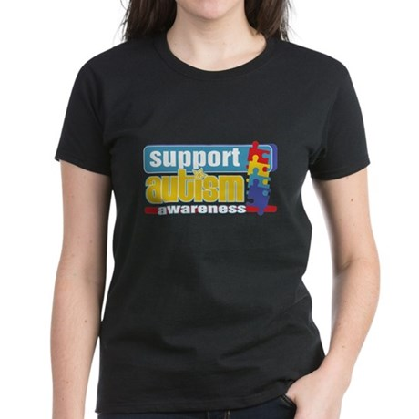 Support Autism Puzzle Women's Dark T-Shirt