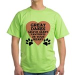 Great Dane Pawprints Green T-Shirt
