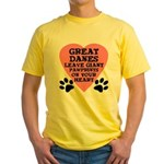 Great Dane Pawprints Yellow T-Shirt