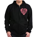 Great Dane Pawprints Zip Hoodie (dark)