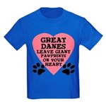 Great Dane Pawprints Kids Dark T-Shirt