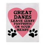Great Dane Pawprints Throw Blanket