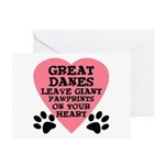 Great Dane Pawprints Greeting Cards (Pk of 20)