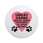 Great Dane Pawprints Ornament (Round)