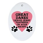 Great Dane Pawprints Ornament (Oval)