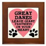 Great Dane Pawprints Framed Tile