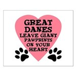 Great Dane Pawprints Small Poster