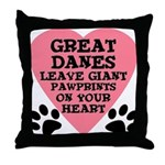 Great Dane Pawprints Throw Pillow