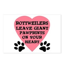 Rottweiler Pawprints Postcards (Package of 8)